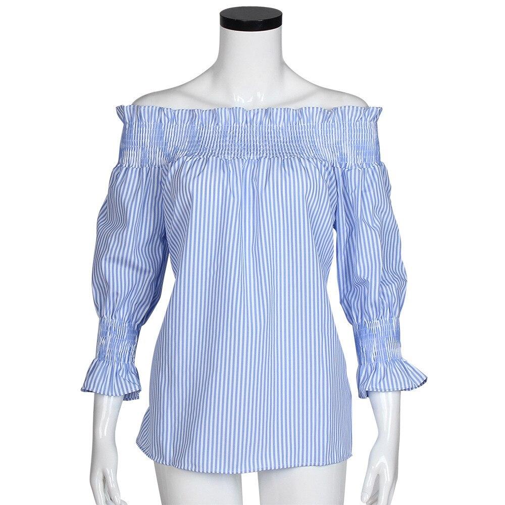 8616ea6b56 Women Girls Fashion Cotton Blue White Striped Tops Tee Shirt Off the ...