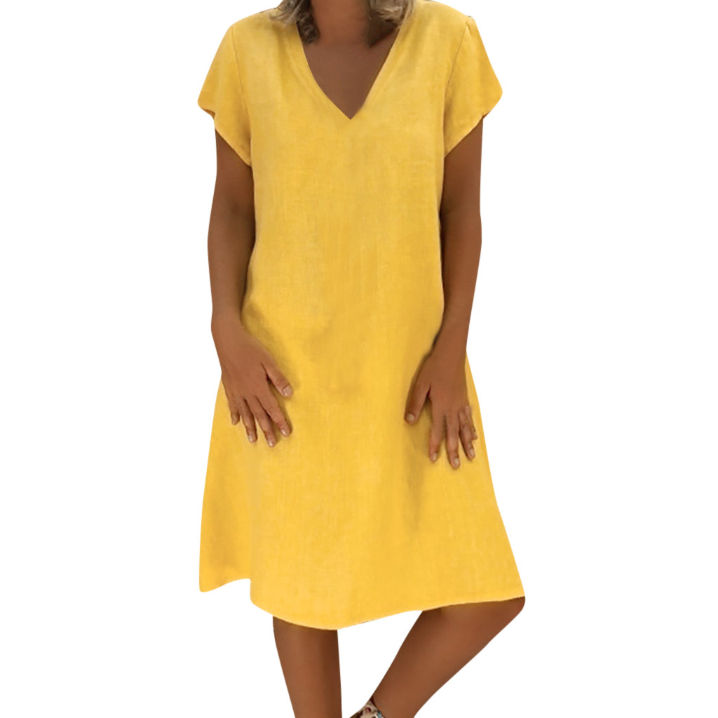 2019 New Summer Dress Women T-shirt Cotton Solid Color Casual Plus Size V-neck Short Sleeve Dress Sundress Feminino Vestido