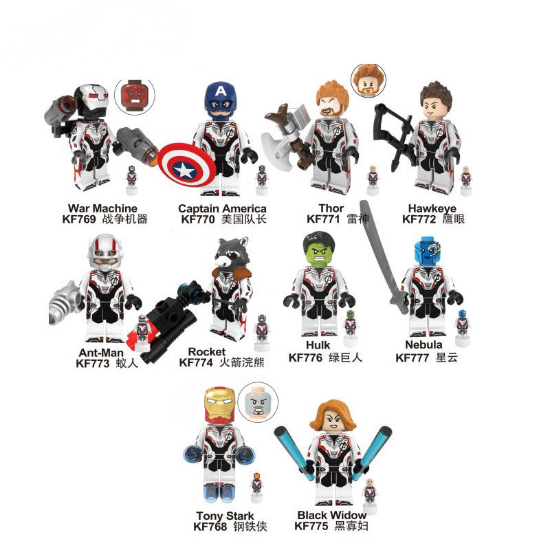100 Pcs บล็อกอาคาร Avengers 4 End พื้นที่เกมชุด Micro รูป Tony Stark Hawkeye Thor ของเล่นเด็ก KF6076-ใน บล็อก จาก ของเล่นและงานอดิเรก บน   1