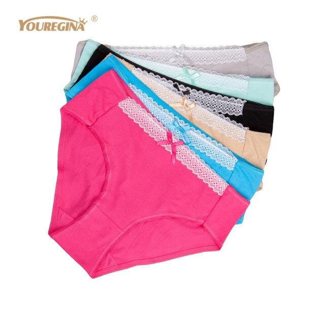 9527925a5d6 YOUREGINA Women Panties Cotton Plus Size Underwear Mid Waist Big Size  Breathable Briefs Lace Lingerie for Ladies 4XL 6 pcs lot