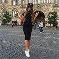 2016 trabajo de oficina vaina dress sexy vestidos de fiesta negro mujeres otoño dress bodycon rodilla-longitud dress vestidos túnica más tamaño