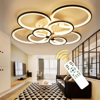 New Arrival Rings Modern Led Chandelier Living Room Bedroom White Black Frame Chandelier Circle Rings Led Home Lighting Fixtures