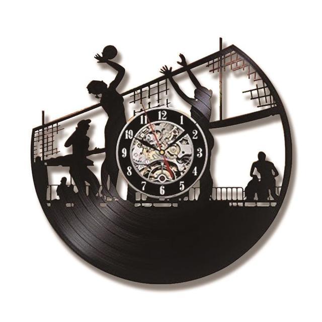 Volleyball Beach Art Hollow Record Clock Creative Wall Decoration Vinyl Lp Led Modern Vintage