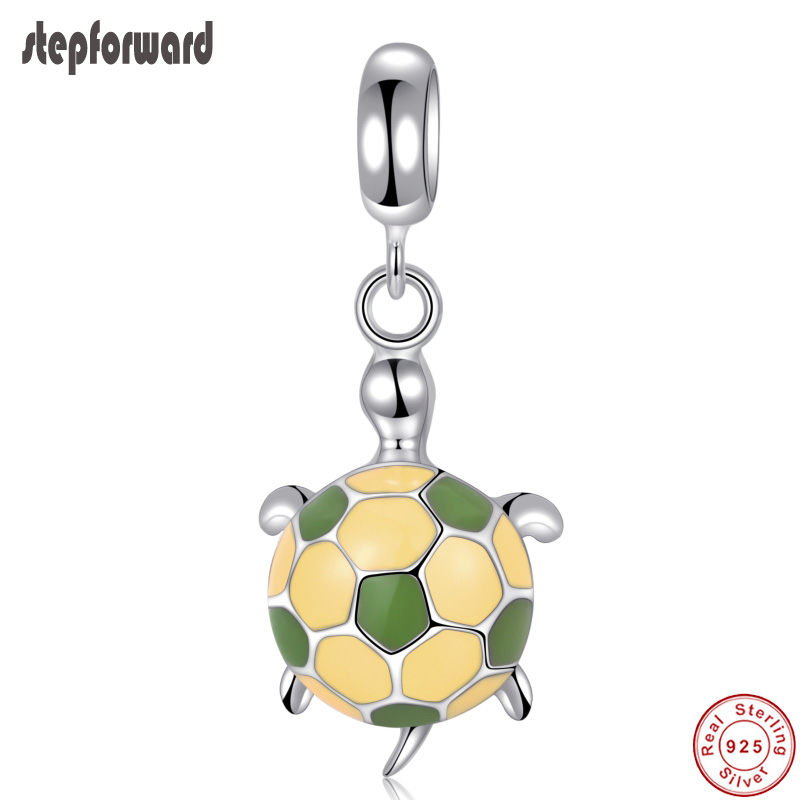 100 925 Sterling Silver Lovely Tortoise Hanging Charm Popular Good Quality Enamel Silver Bracelet Charms Necklace Pendants in Charms from Jewelry Accessories