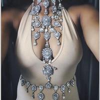 Dvacaman Brand Body Chain 2016 Summer Beach Sexy Gold Plated Bikini Body Jewelry Long Crystal Rhinestone