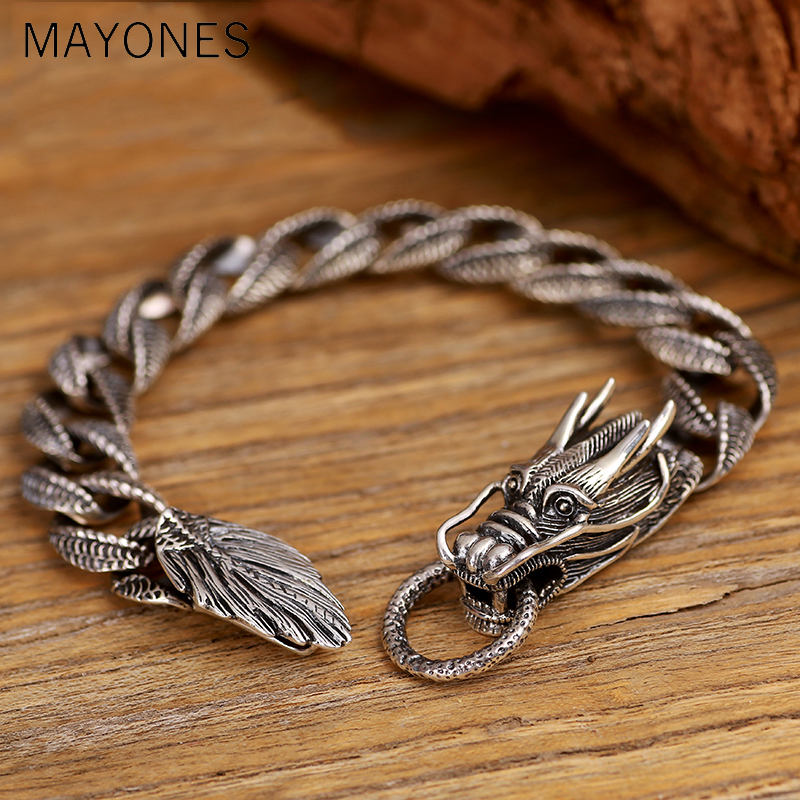 240bed0a431f0f Mens Biker Sterling 925 Silver Dragon Curb Chain Bracelet Thai Vintage  Style Dragon Link Handcrafted Punk Men Bracelet Bangle