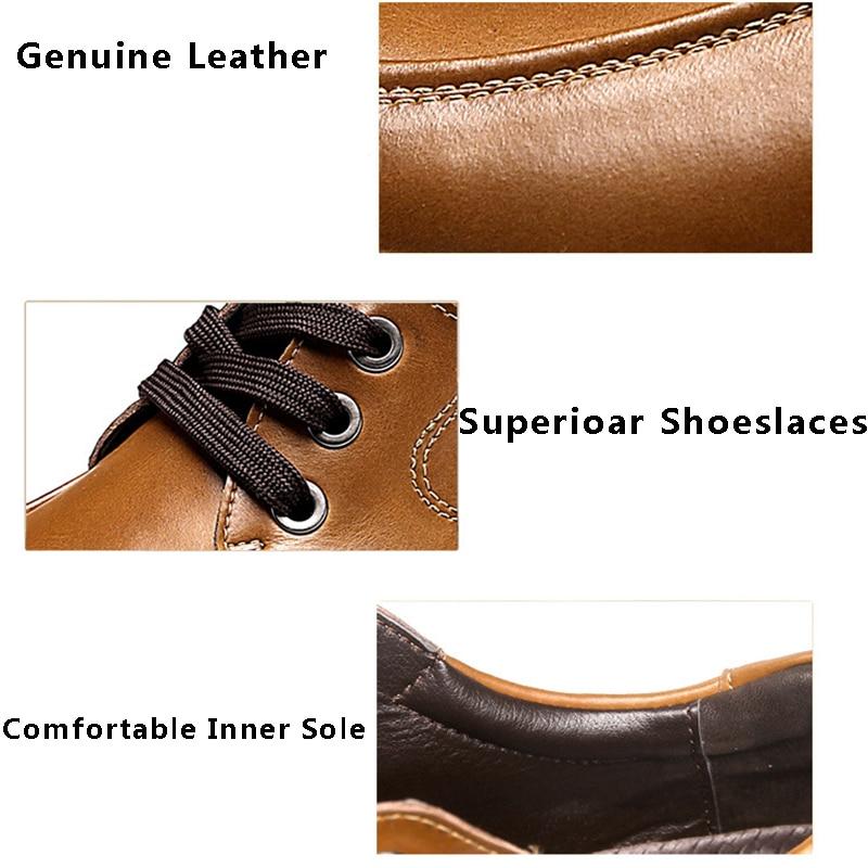 Merkmak Zapatos Hombres 2017 Moda Casual de Cuero Genuino Tamaño Grande 37-50 de