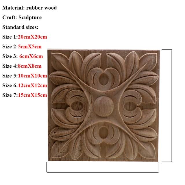 VZLX Square Wood Applique Carved Decal Corner Onlay Unpainted Furniture For Vintage Home Decor Door Cabinet Decoration Maison 4