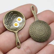 WYSIWYG 2pcs 41x23mm pingente de omelete pingente de joias artesanais faça você mesmo cor bronze antigo vintage