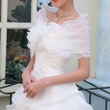 3 Слои цвета слоновой кости свадебное платье с отложным воротником куртка ручной подготовлены потратить платье аксессуары Шарфы