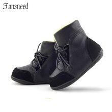 Botas de nieve de piel auténtica antideslizantes para niños, zapatos acolchados de algodón, suela suave