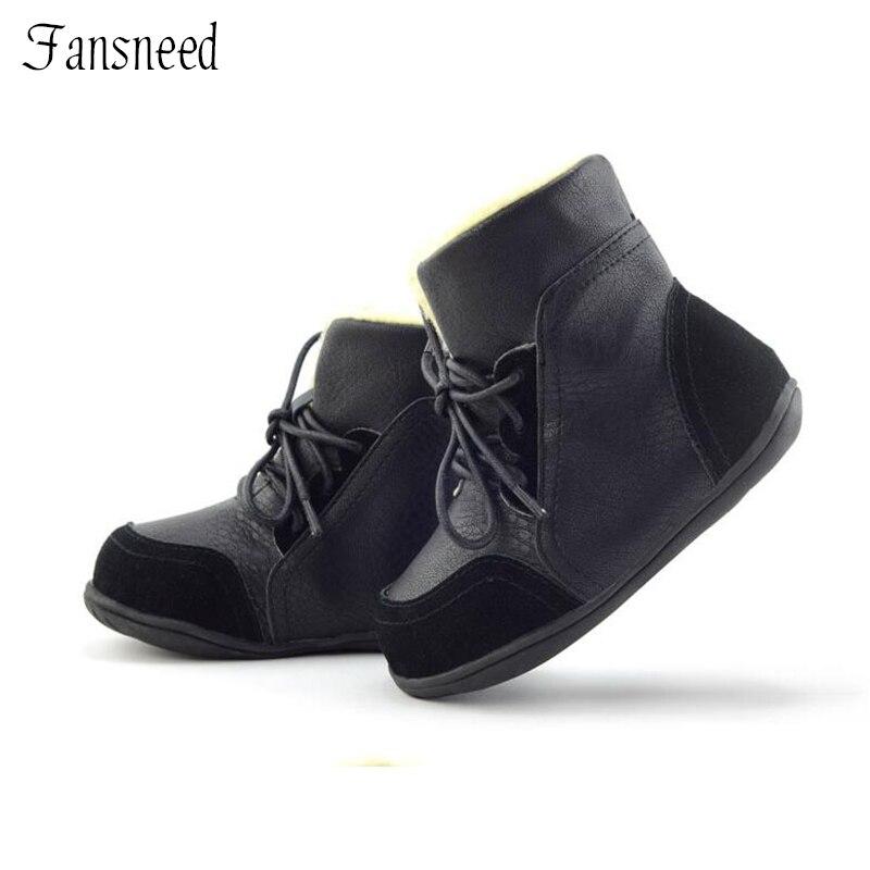 Cuero genuino niño femenino antideslizantes nieve botas masculinas mediano de la pierna de algodón acolchado zapatos outsole suave