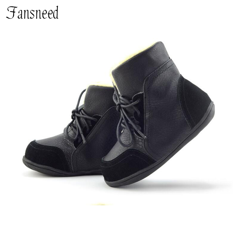 Genuine Leather Child Slip-resistant Female Snow Boots Child Boots Male Medium-leg Child Cotton-padded Shoes Soft Outsole