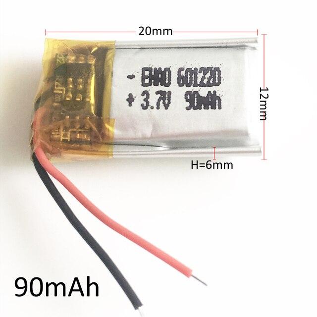 Lot 10 sztuk 601220 3.7V 90mAh litowo-polimerowa LiPo akumulator do Mp3 słuchawki rejestrator PAD DVD zestaw słuchawkowy bluetooth