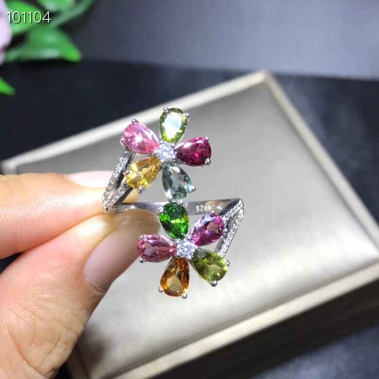 Natural tourmaline flower ring, 925 silver, colorful colors, good quality, individual styleNatural tourmaline flower ring, 925 silver, colorful colors, good quality, individual style