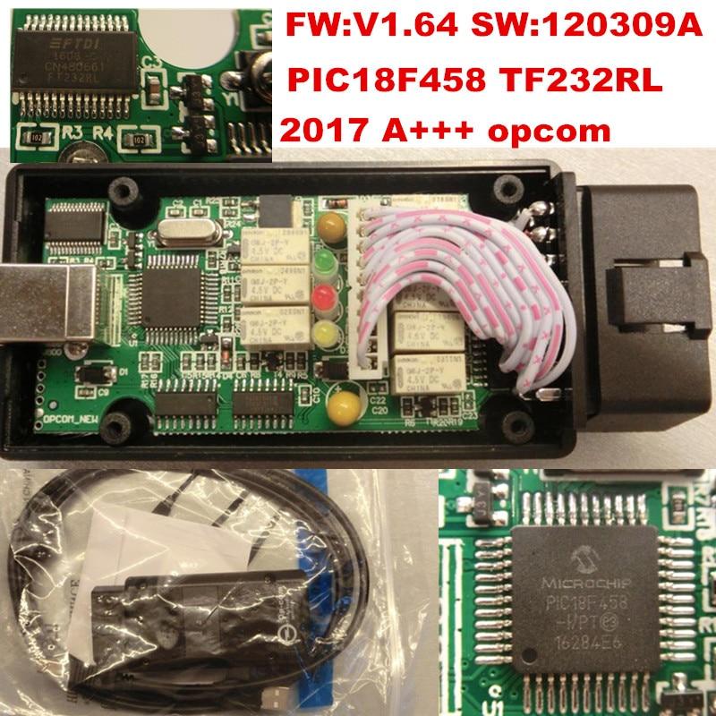 Prix pour 2017 Date OPCOM V1.64 firmware A + + + qualité OP-COM Pour Opel outil De Diagnostic OP COM avec réel pic18f458 peut être flash mise à jour