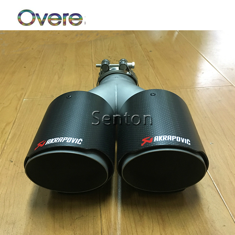 Overe 1PC Twin Outlet Akrapovic Carbon Fiber Exhaust End Tips Car Exhaust Muffler pipe For BMW/Audi/Honda/Toyota/Mazda/Lexus heart shaped car muffler dual exhaust pipe for toyota corolla camry seat ibiza ssangyong skoda renault ford honda mercedes bmw