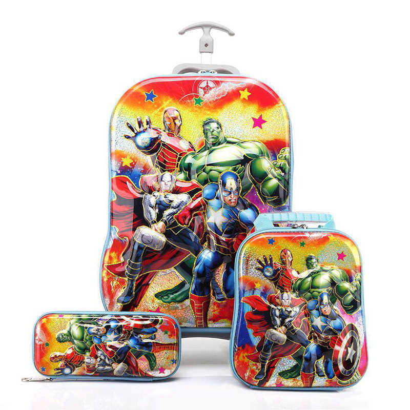 3D Stereo Hot Trolley Case Cute Big Hero 6 Kids Travel Suitcase Boy Girl Cartoon Lunch Bag Pencil Box The Avengers Children Gift