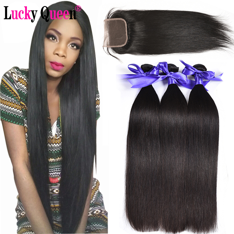 Brazilian Straight Hair Bundles With Closure 4pcs/lot 100% Human Hair Bundles With Closure No Shedding Lucky Queen Hair Products