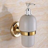 High Grade Brass Polished Soap Dispenser Antique Zirconium Gold Hotel Liquid Soap Holder Bathroom Accessories Jy42