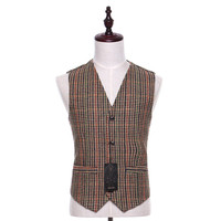 New Men Suit Vest Plaid Fabrics Cotton Casual Wedding Tuxedo Formal Business Suits Blazer Costum Made