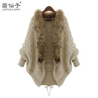 Lotus Fairy Female Knitted Cardigan Sweater Women Batwing Sleeve Autumn Winter Short Coat Fur Collar 2017