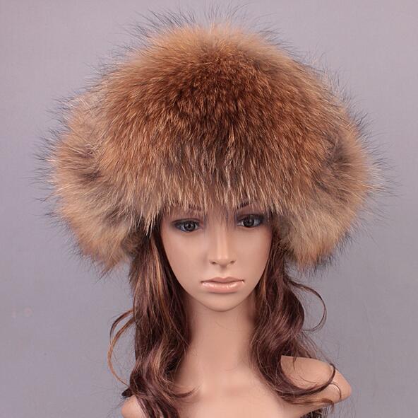 Winter Warm Men Fur Hat Natural Fox fur / Raccoon Fur Outdoor Genuine Leather Fur Cap Men Bomber Hats MS-2