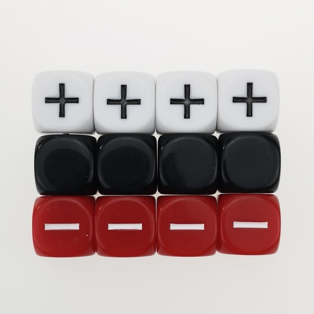 Rollooo 12 fudge dice gm starter pacote 3 conjuntos de 4 fate opaco preto branco e vermelho +-símbolo