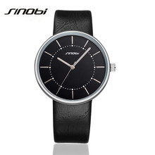 SINOBI Creative Sports Luxury Fashion Mens Genuine Leather Band Analog Quartz Watches Casual Males Business Watch Uhr K63