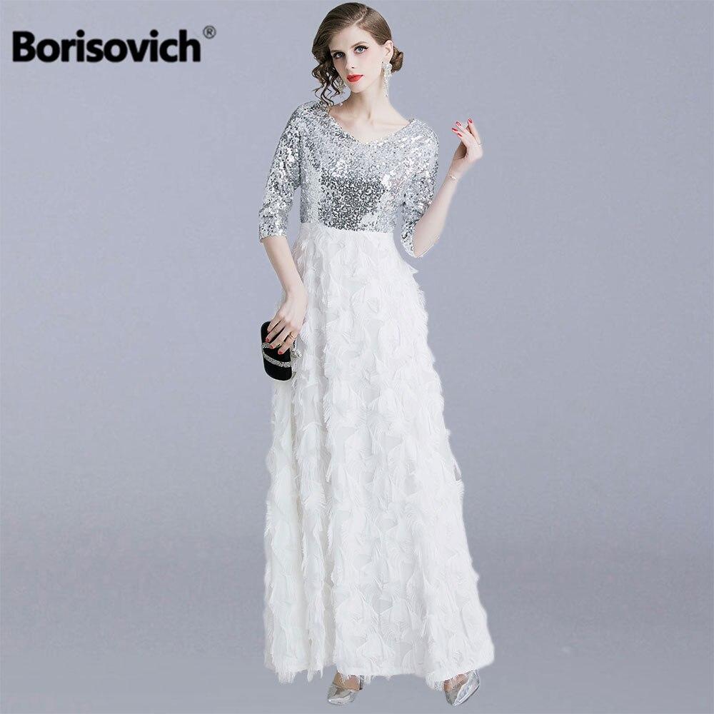 Borisovich dames robes de soirée nouveauté mode angleterre Style grande balançoire a-ligne luxe femmes élégante longue robe N1299