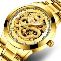 Gold Dragon Watch Men Stainless Steel Waterproof Luxury Diamond Wristwatch Hollow Dial Self Winding Automatic Mechanical Watches