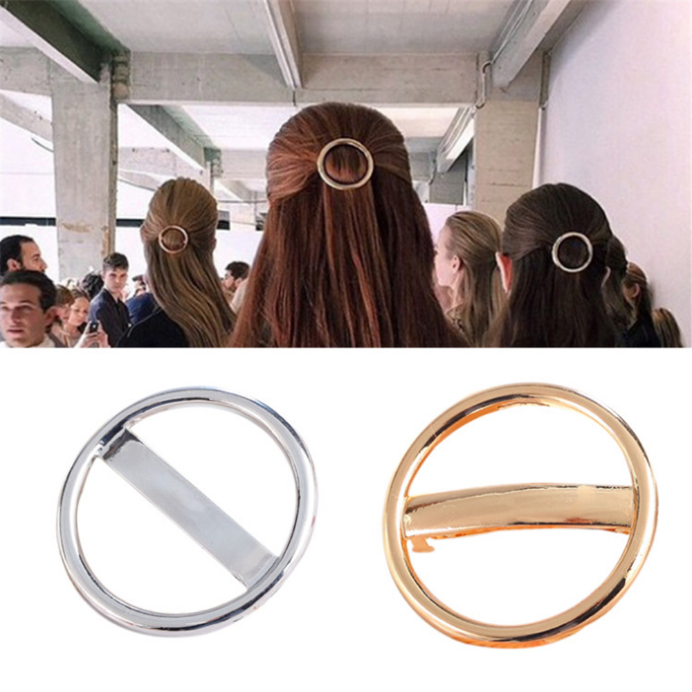 2019 Fashion Elegant Women Girl Hair Clip Barrette Gold Silver Hollow Hoop Round Star Circle Geometric Metal Hairpin Accessories