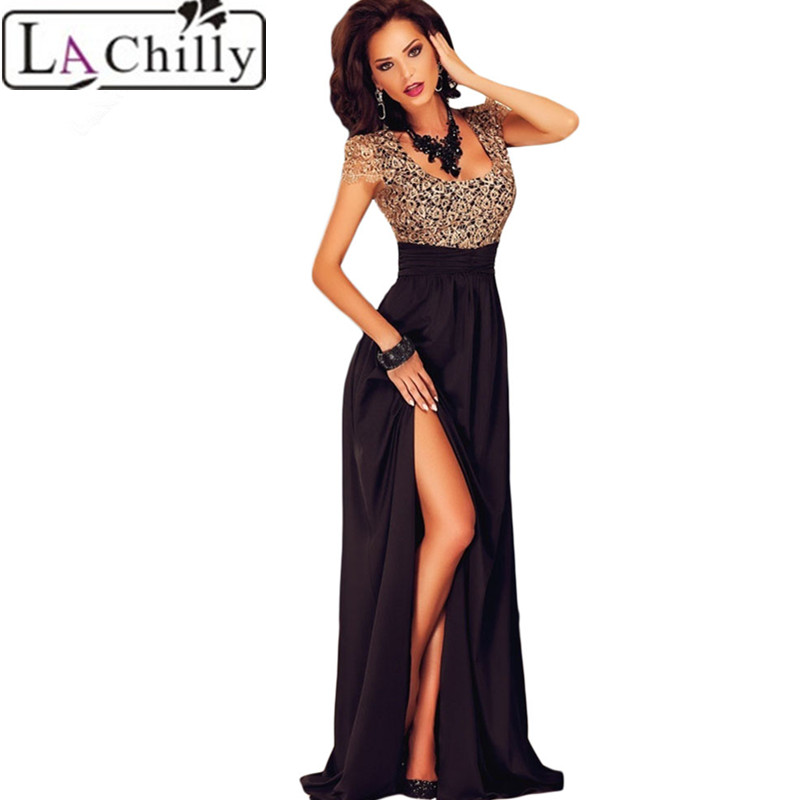 La Chilly Elegant vestidos Embroidery dresses vestido de festa 2017 Amazing Gold Lace Overlay Slit Maxi