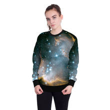 Women's Fashion 3D Sweatershirt Long Sleeve Hoodies Harajuku 3D Galaxy Space Print Roll Neck Pullovers for Xmas Holiday Party(China)