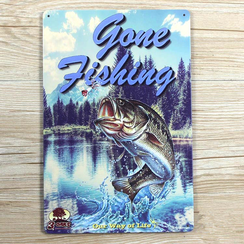 Gone Fishing Our Way of Life Vintage Metal Tin Sign Bar Pub Home Wall Decor Painting Retro Art Poster 8x12 Wholesale A860