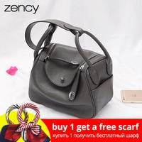 Zency New Doctor Style 100% Genuine Leather Women's Handbags Classic Lady Shoulder Purse Crossbody Messenger Bag Tote Satchel