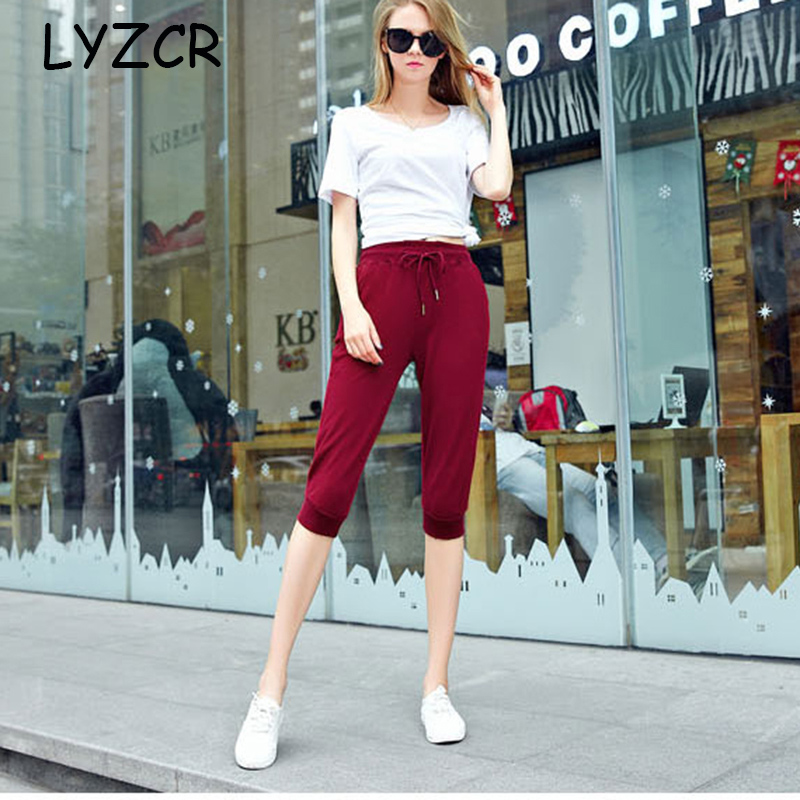 Women Cotton Capris Pants Summer Casual Loose Harem Pants for Women Knee Length Breeches Women