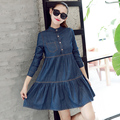 Spring Autumn Fashion Long Sleeve Denim Dress Women Casual Loose Strand Collar Blue Shirt Dresses Plus Size S-2XL L137