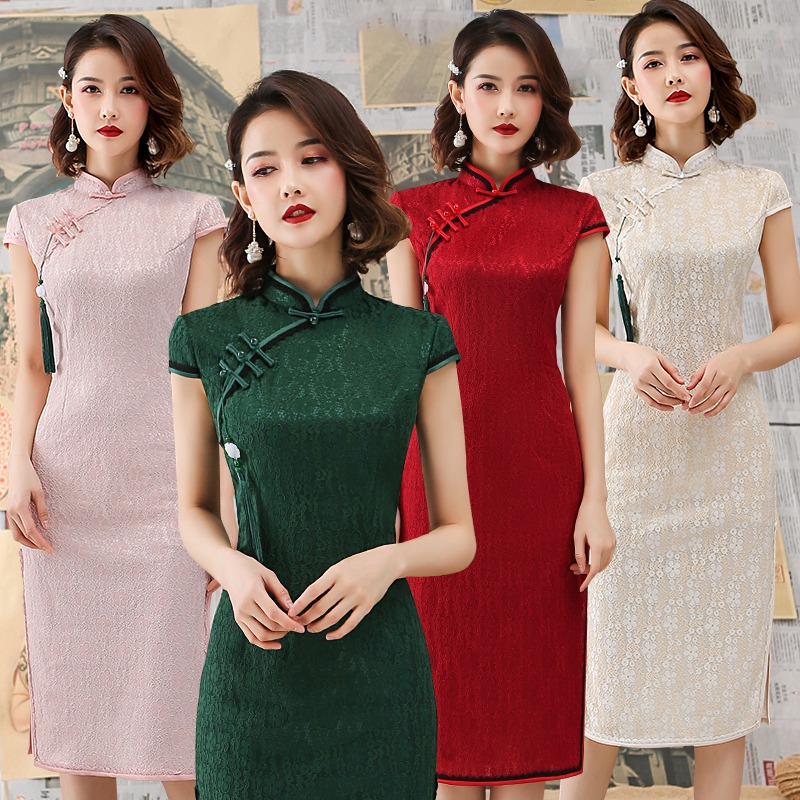 Shanghai Story Summer Lace Qipao Chinese Dress Short Sleeve Knee Length Cheongsam Dress Chinese Traditional Dresses 4 Color
