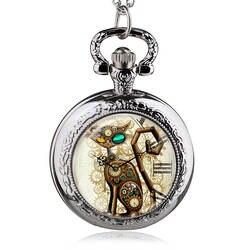 Бронза Винтаж стимпанк кошка медальон Цепочки и ожерелья карманные часы кулон подарок