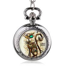Bronze Vintage Steampunk Cat Locket Necklace Pocket Watch Pendant Gift