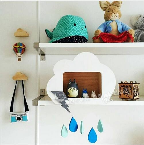 clouds decoration for kidsroom cute custom wooden house Cloud droplets furnishing articles pendant receive box of children