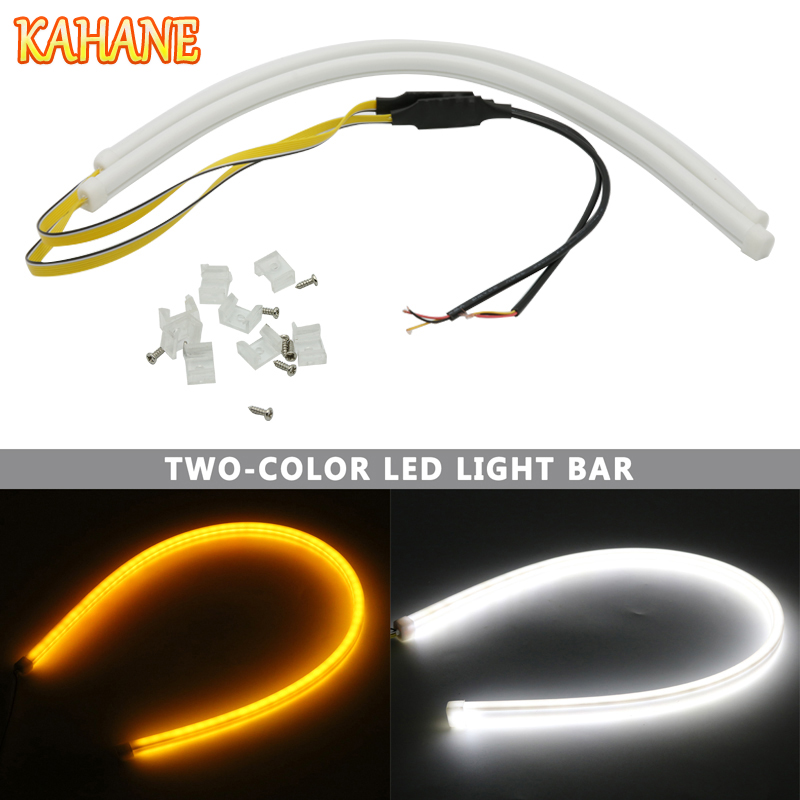 KAHANE 2x 45cm Car Styling LED Flowing DRL Flexible White Amber Flow Daytime Running Light Soft Flowing Turn Signal Light Strip new 2 pcs car led daytime running light turn signal light flowing yellow steady auto flexible styling strip crystal led bar drl