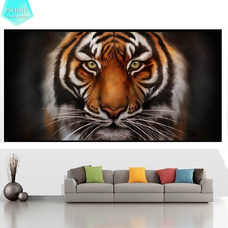 PSHINY 5D DIY Diamond Embroidery Tiger Home Decor Picture