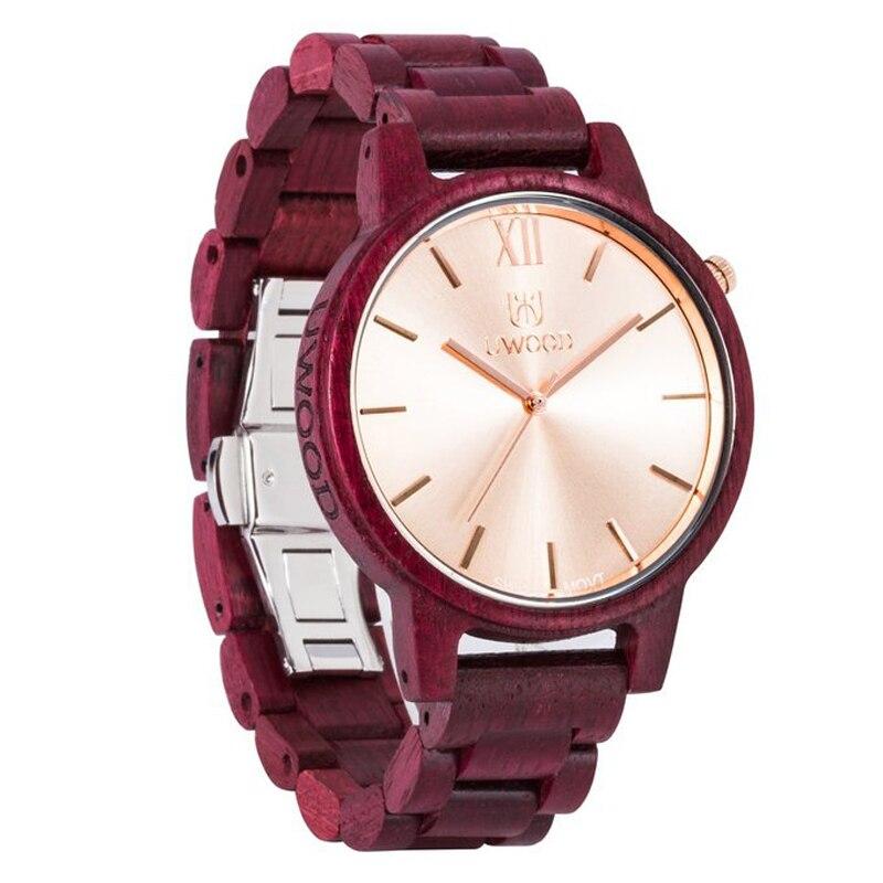 Uwood Luxury Brand Purpleheart Wooden Mens Swiss Movt Quartz Analog Watch for men christmas gifts Beautiful Bamboo Gift Box