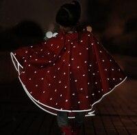Children Safety Reflective Lovely Shape Hooded Poncho Raincoat Cloak