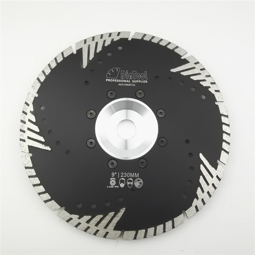 DIATOOL 230mm Hot pressed Diamond turbo Blade with Slant protection teeth 9 Diamond Blades for stone & concrete cutting