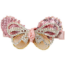 3.35 inches Bling Bling rhinestones paillettes yarn Butterfly bowknot alligator hair clips claw for women and girls