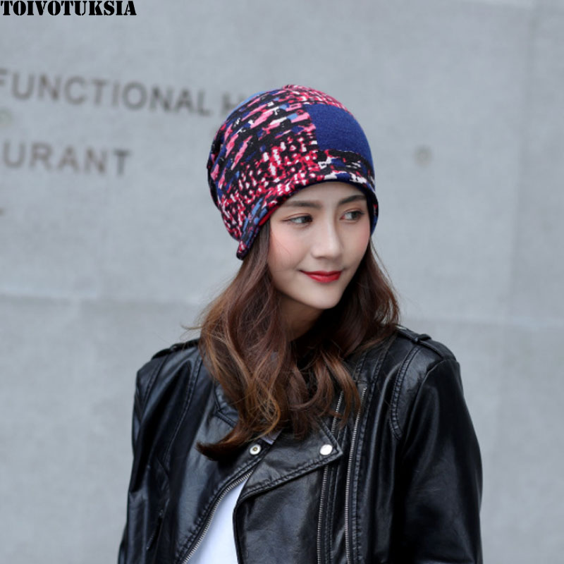 TOIVOTUKSIA Solid Color Women   Skullies     Beanies   Hedging Cap Knit Knitted Rabbit Wool Double Layer Fabric Caps Bonnet Hat