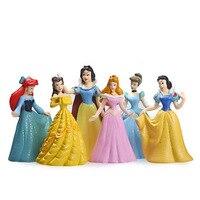 6 pcs/ensemble Princesse Figure Jouet Mignon Brillant Princesse Ariel Cendrillon Blanche-Neige Belle DIY Résine Figurines Jouets Collection Jouet